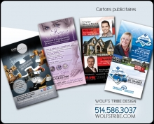 Impression de cartons publicitaires (flyers) Wolf's Tribe Design. Repentigny
